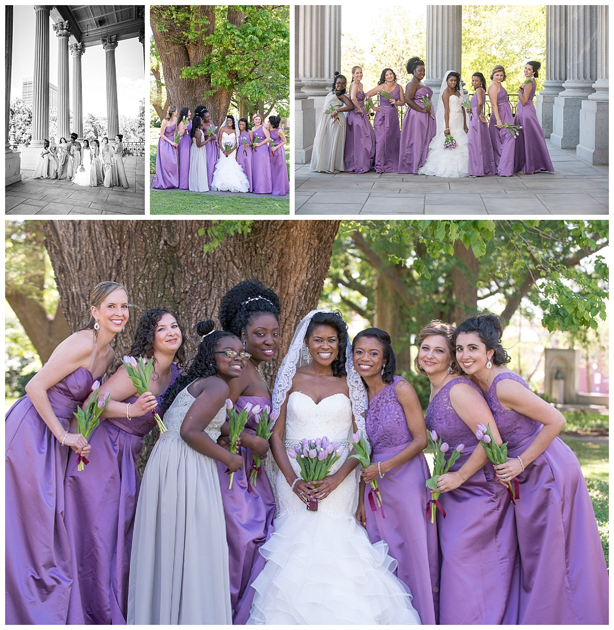 Bridesmaids with purple gowns on the SC state house grounds