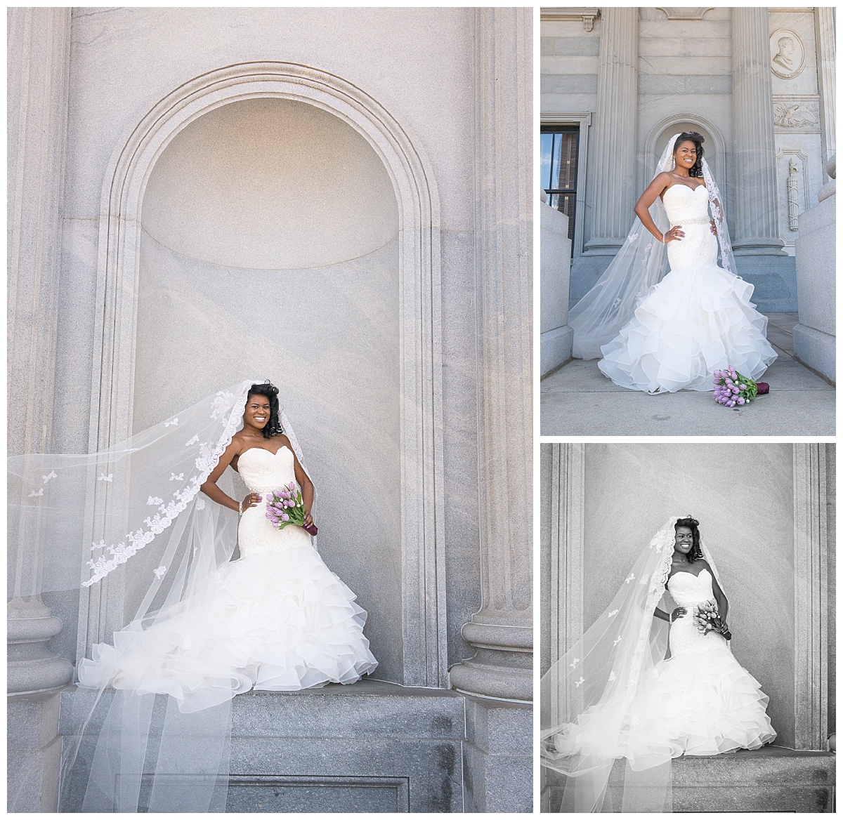 Bride in marble archway with long veil at SC state house