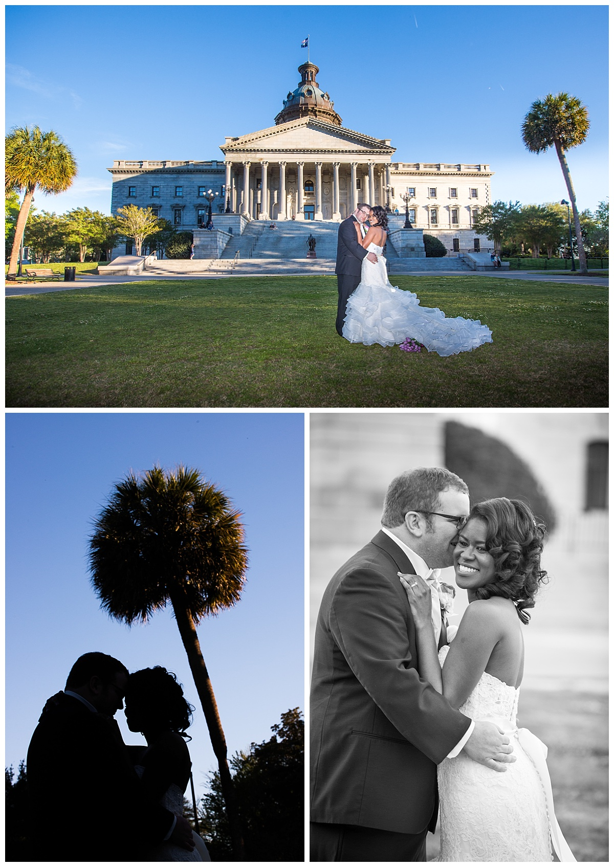State House bride and groom wedding with palmetto tree