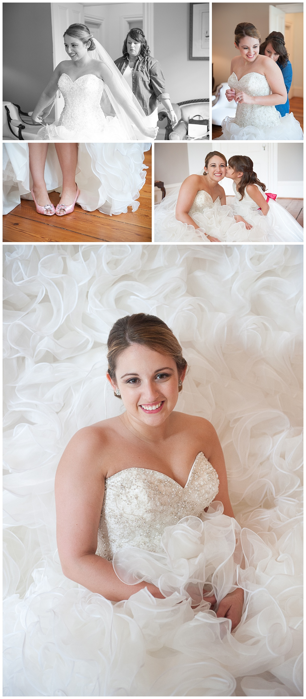 Lace house wedding with big princess gown