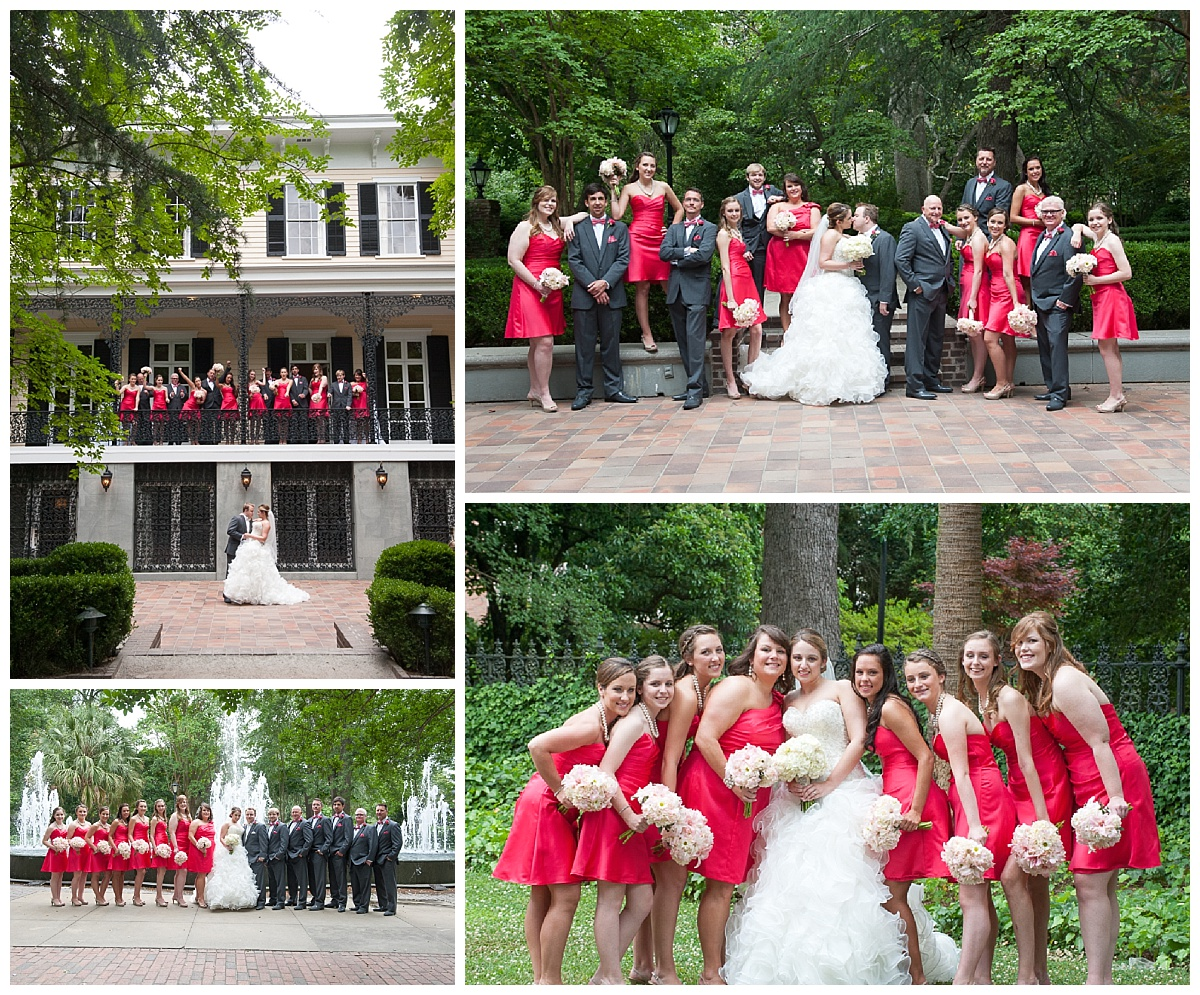 Formal red and black bridal party