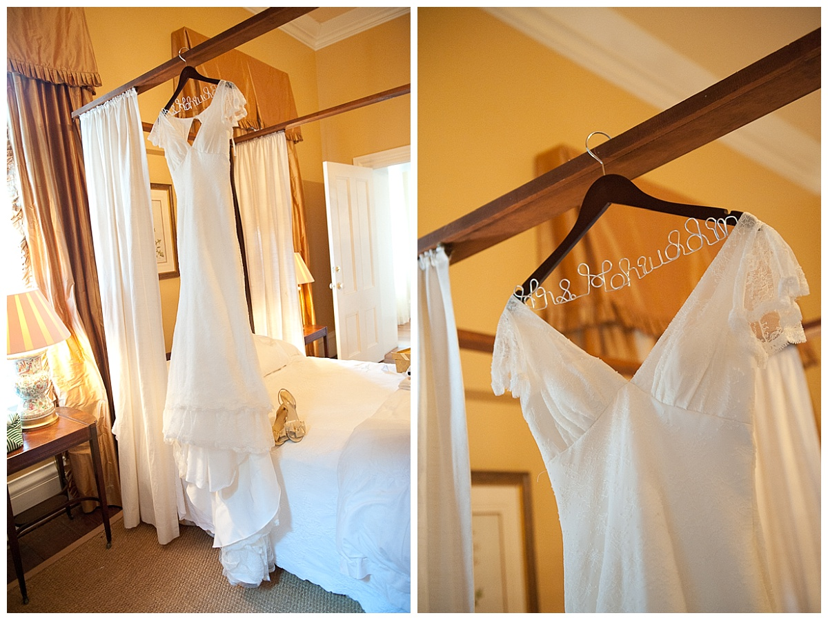 Dress hanging up at Lace House