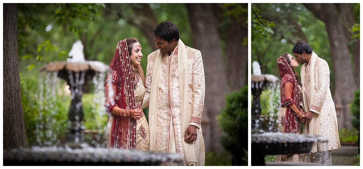 Indian couple at governor's mansion by fountain