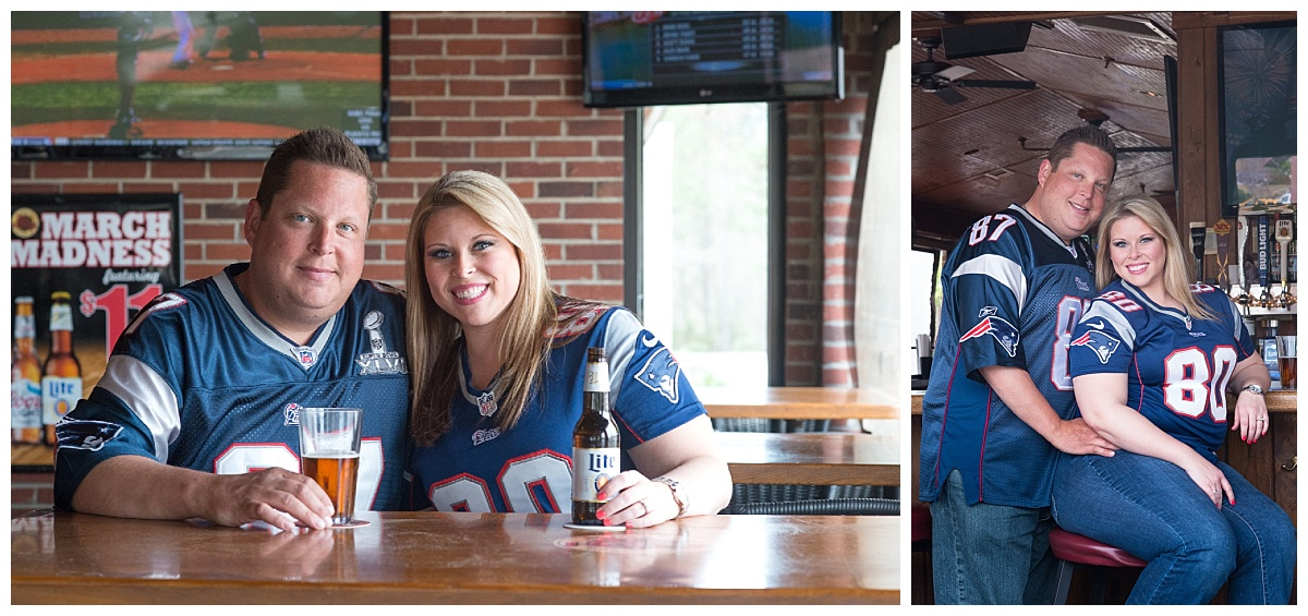 Sports bar engagement photos