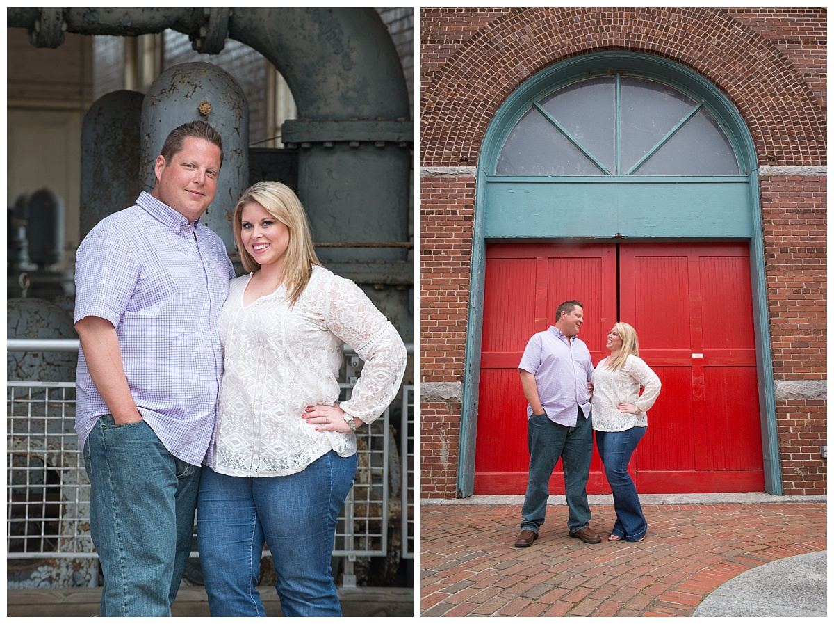 River walk engagement session by big red door