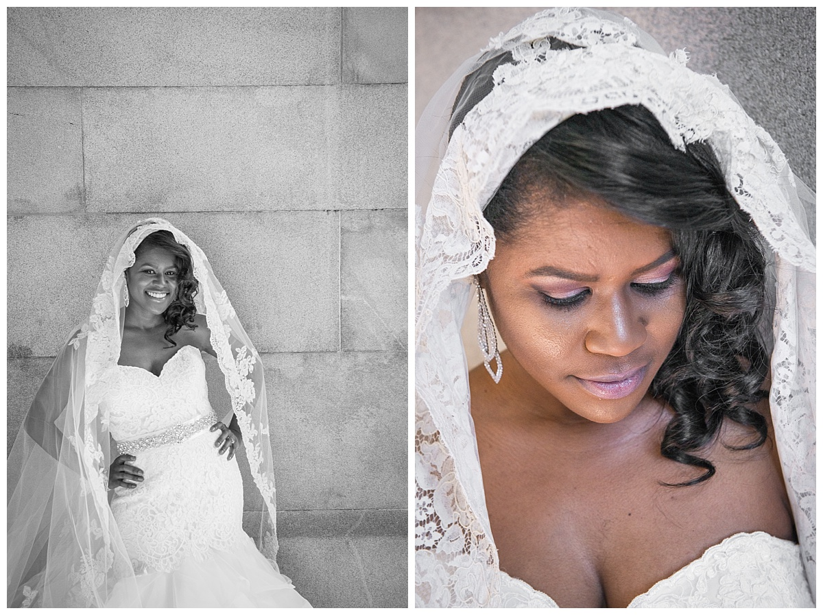 Bridal portrait against stone wall with lacy veil