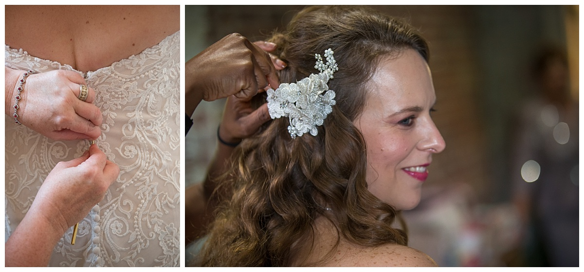 Bridal details, lacy button dress and hairpiece