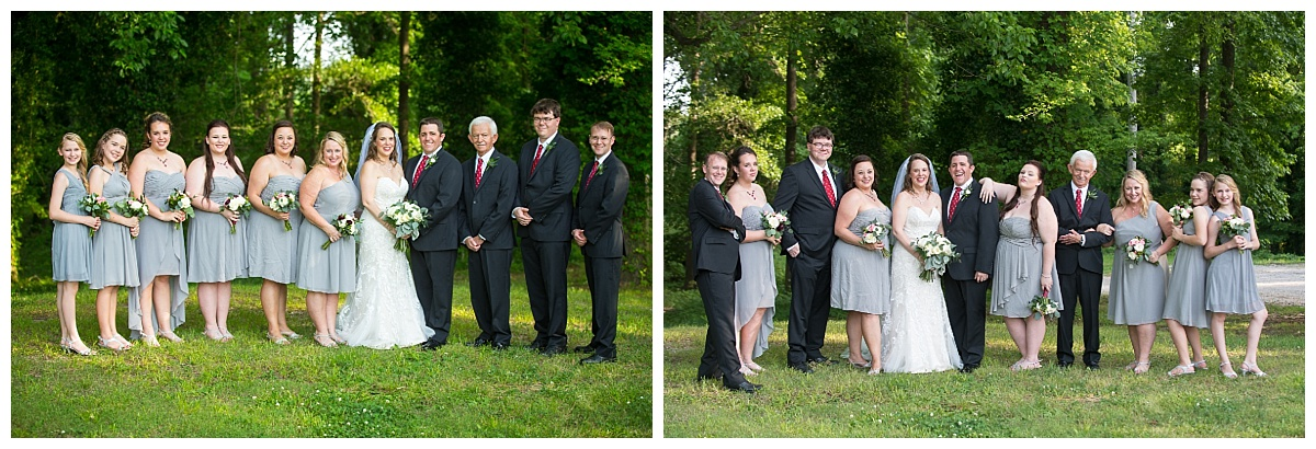 Bridal party in black and grey