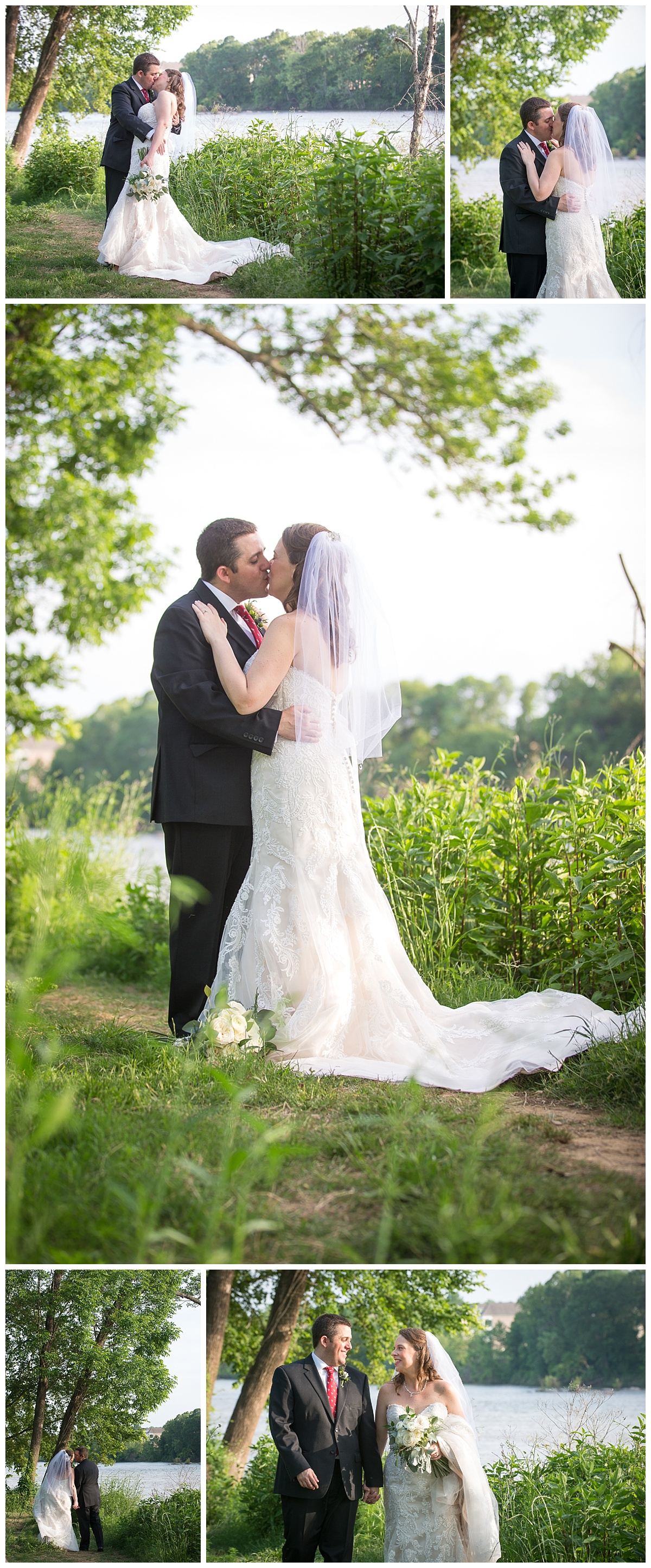 Bride and groom on the congaree river by senate's end