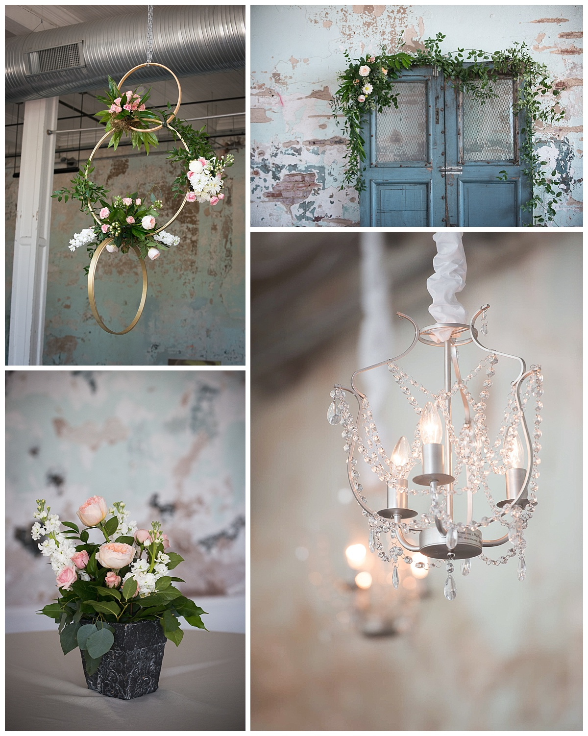 701 Whaley details including crystal chandlier and hanging flowers