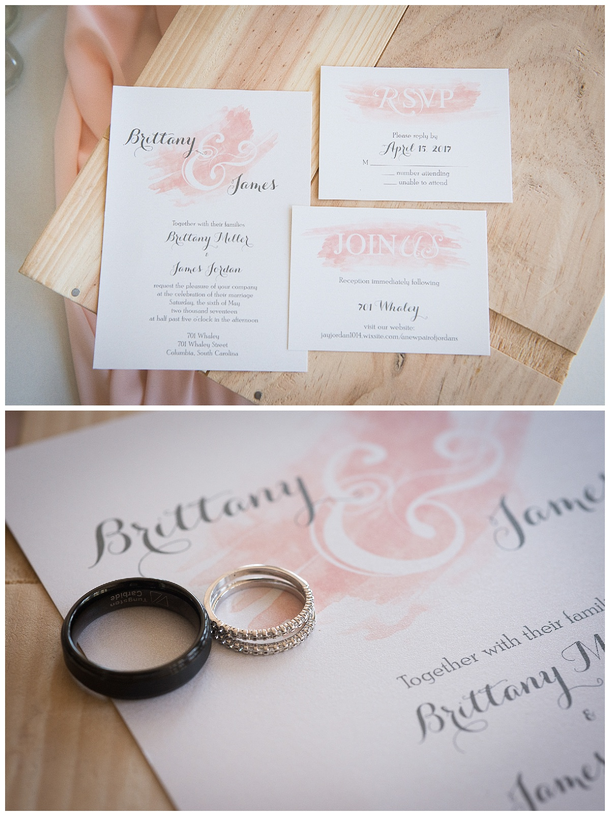 Rings and watercolor invitation design