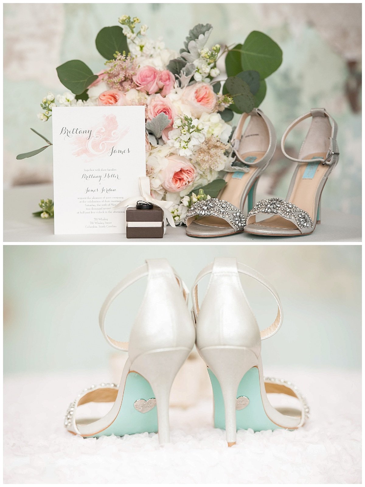 Pink and green color scheme and wedding shoes