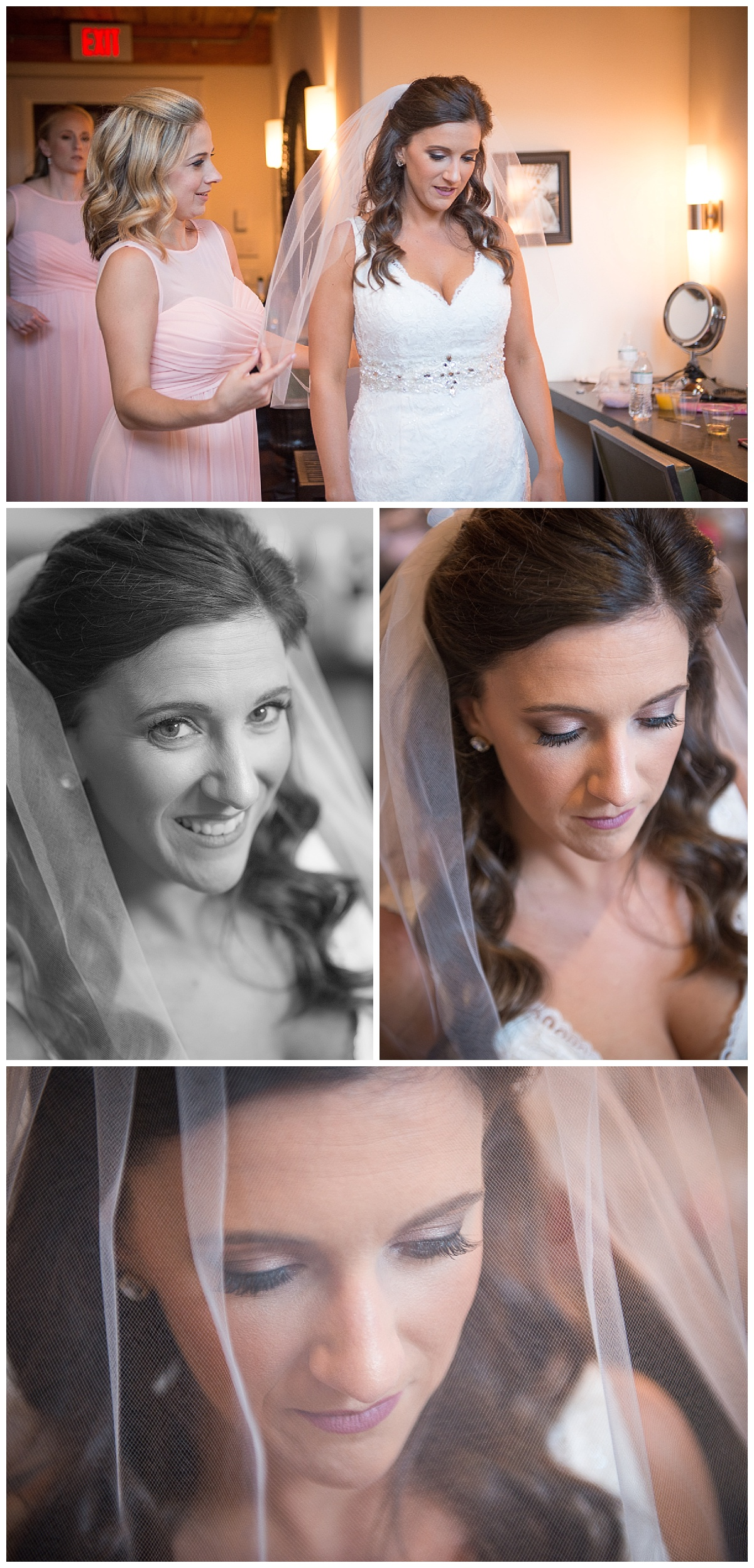 Bride final touches with veil