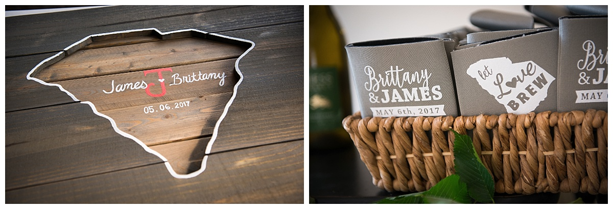 Wooden signing board and coozies