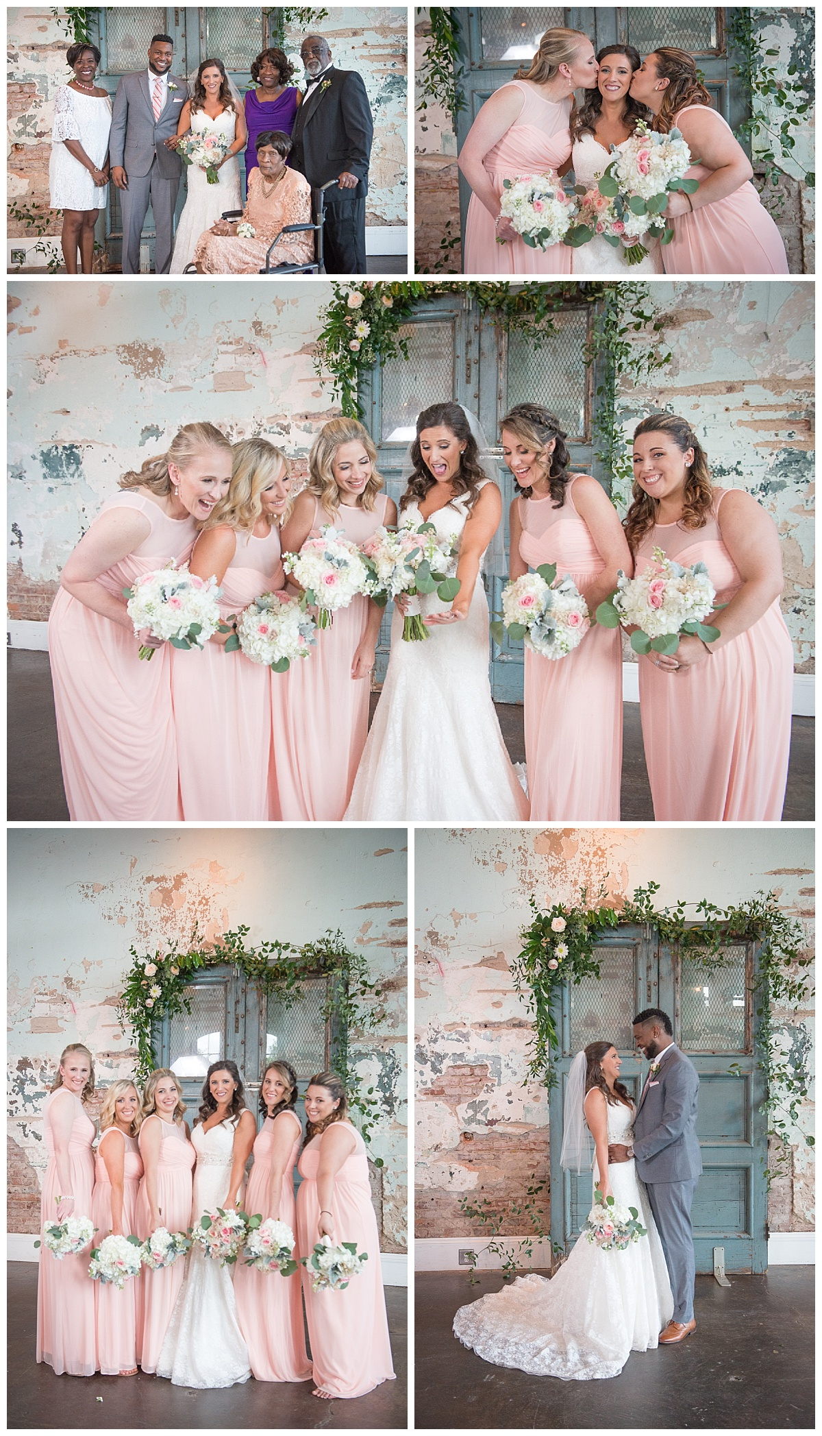Photos of bridal party by door at 701