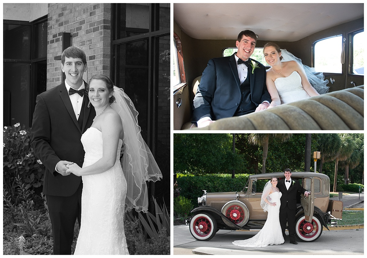 Classic car bride and groom