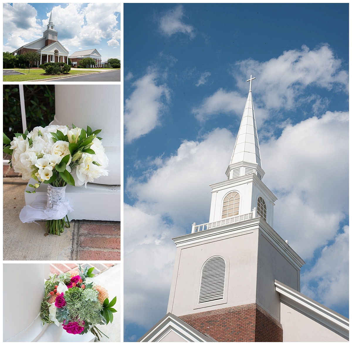 NE Presbyterian church and colorful bouquet