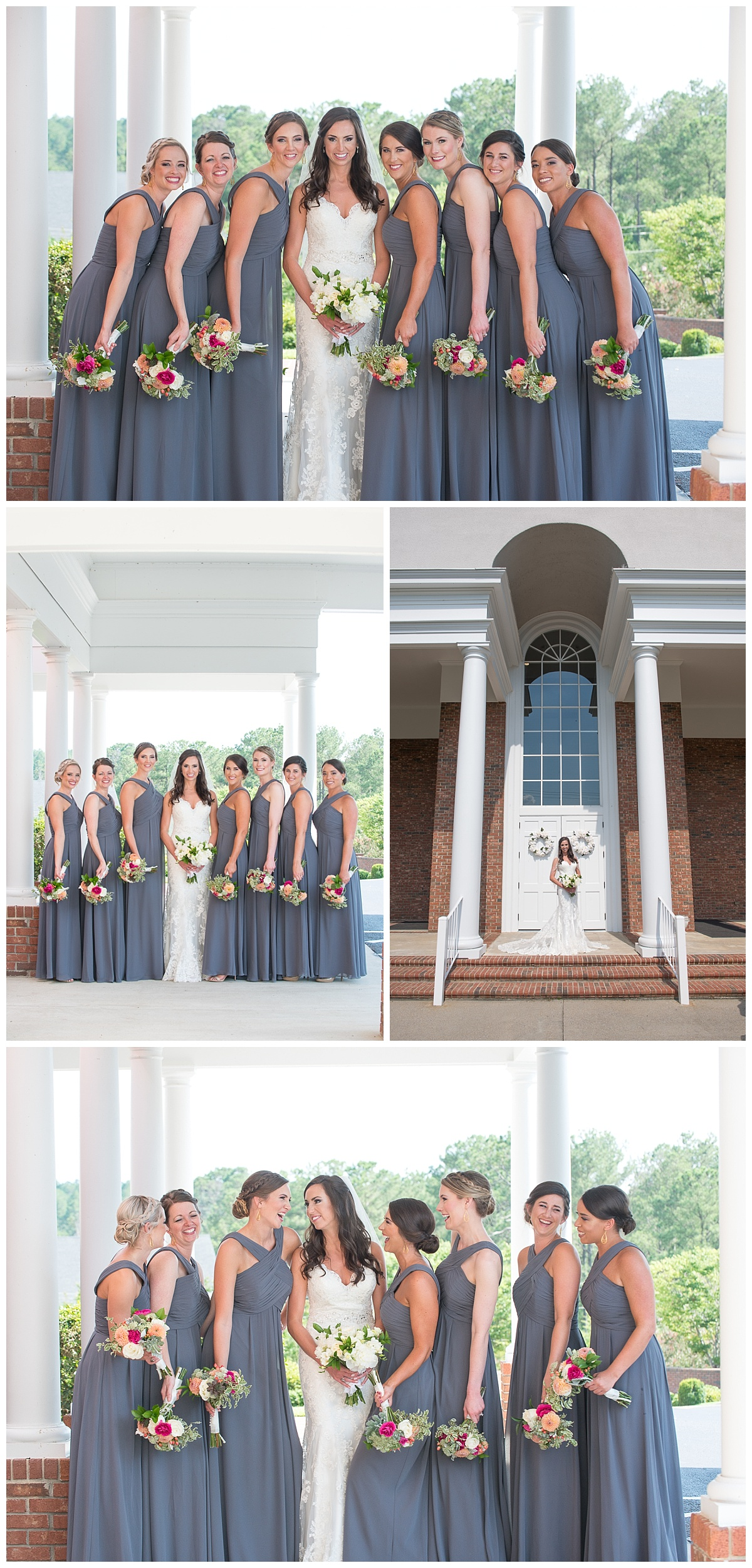 Bridesmaid photos in slate grey dresses