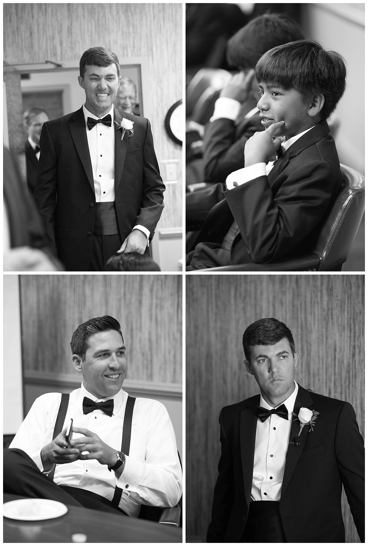 Groomsmen waiting for ceremony in black and white