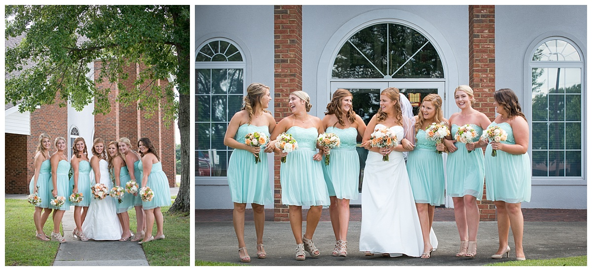 Bridesmaids in teal short dresses
