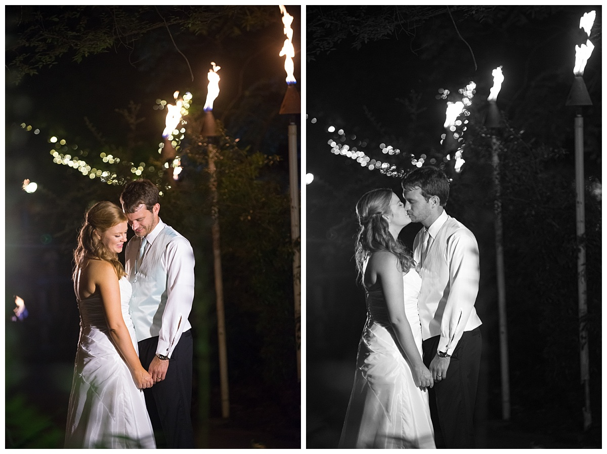 Bride and groom tiki torch portraits