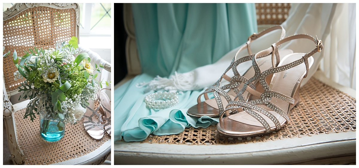 Bridal shoes and flower