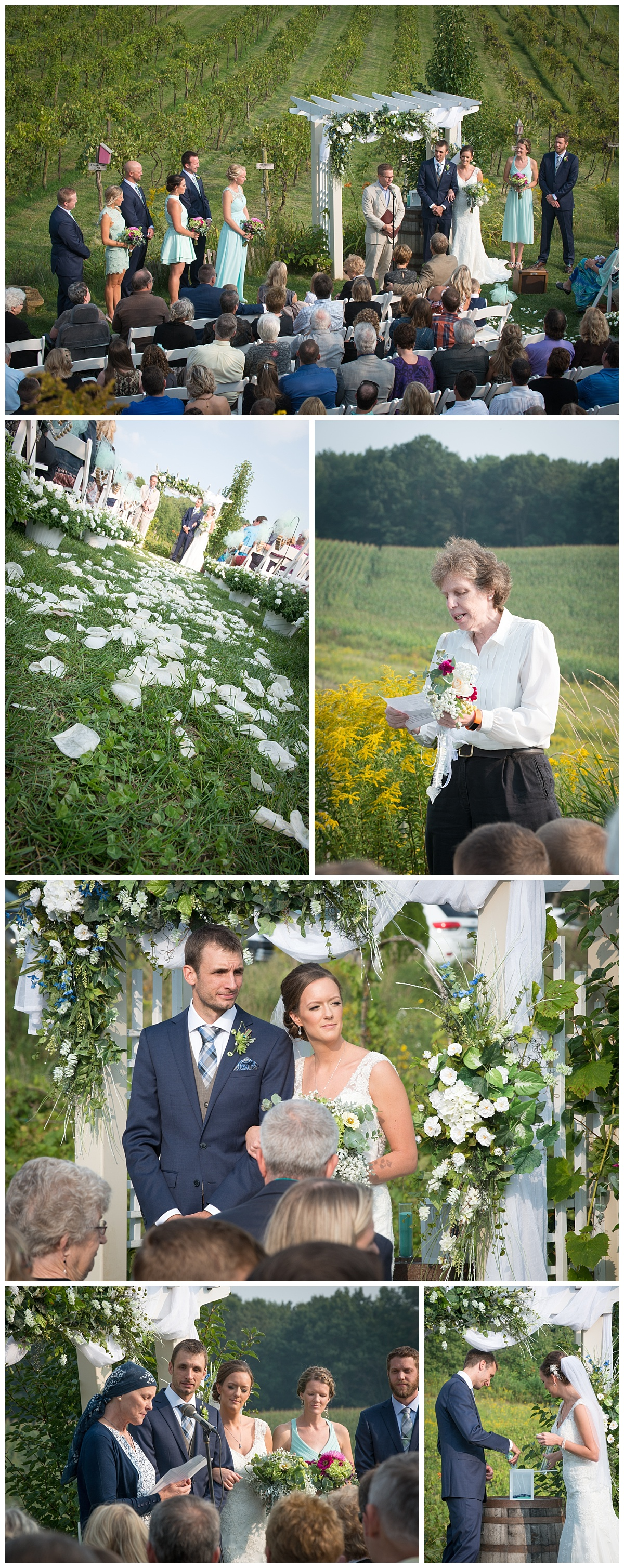 Cottage winery and vineyard wedding ceremony