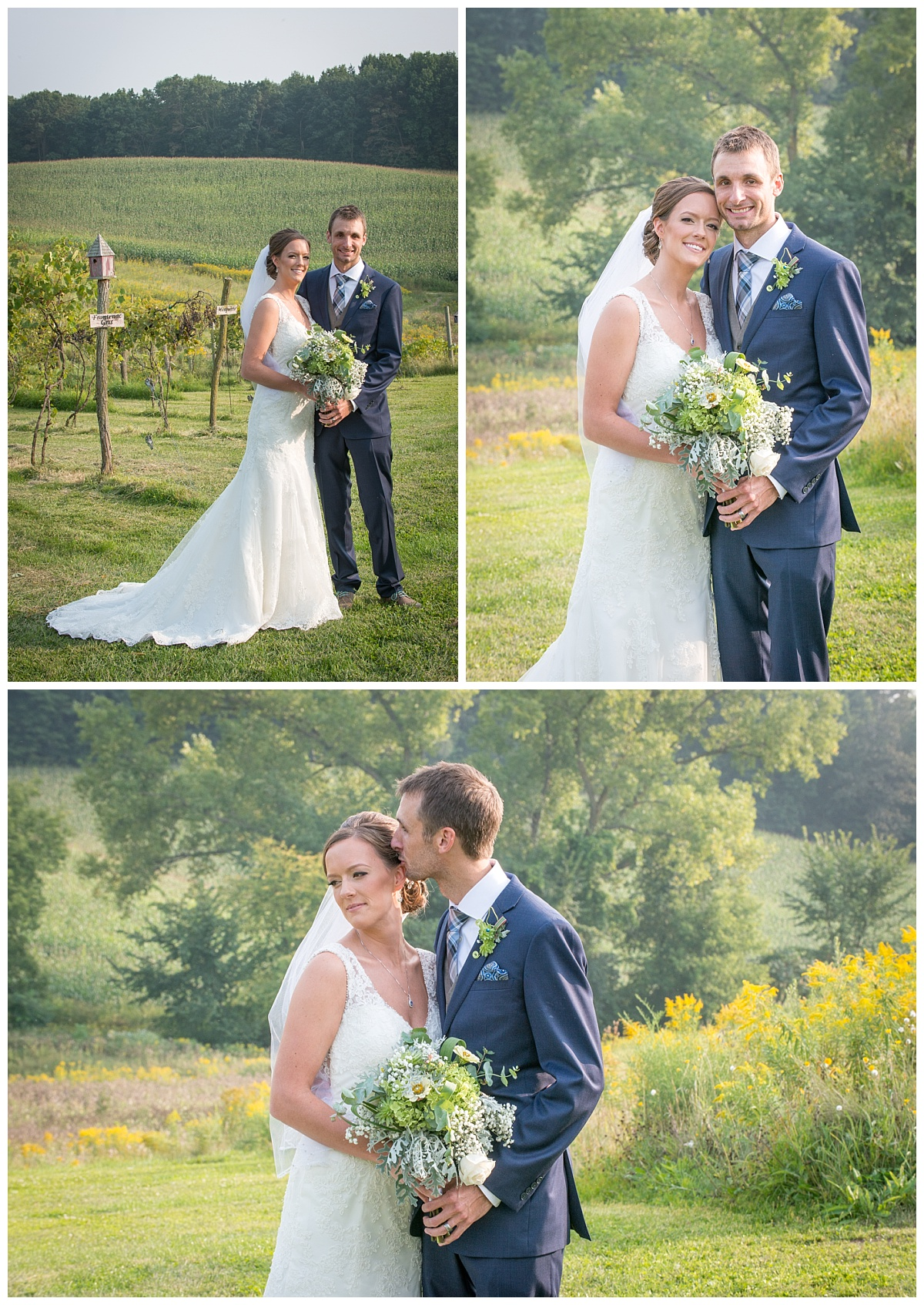 Bride and groom portrait in vineyard