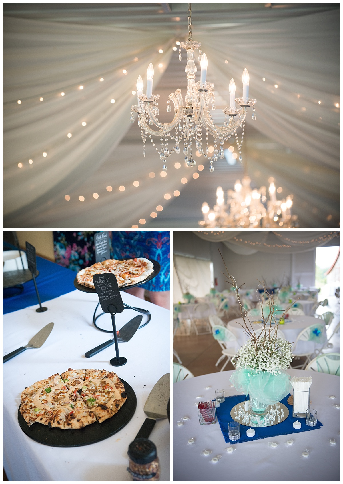 Wedding reception details and pizza