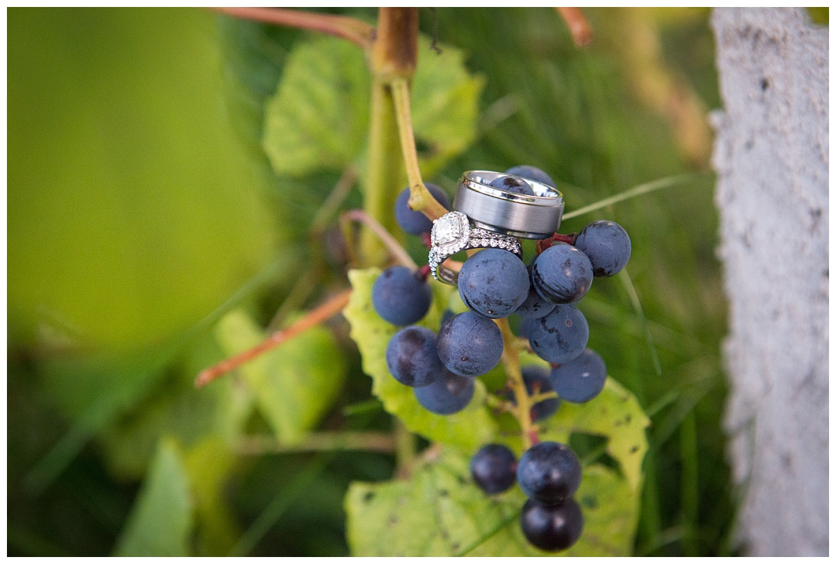 Ring on grapes from vineyard wedding
