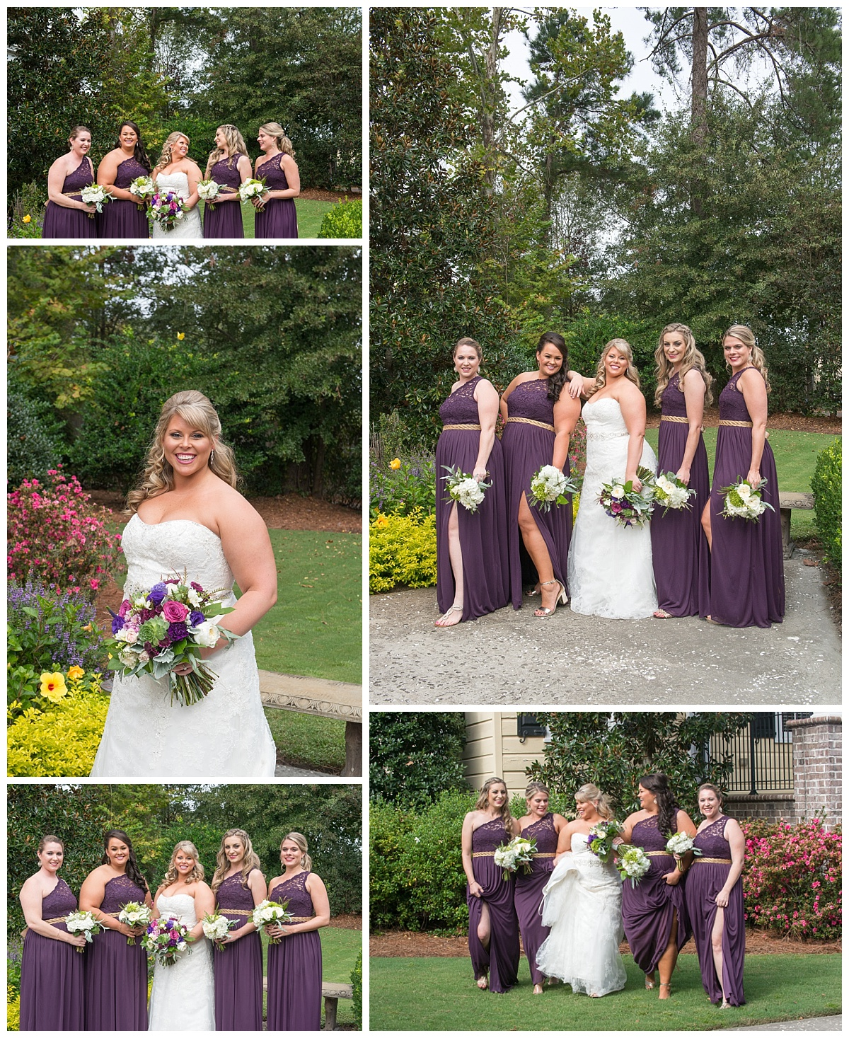 Purple and gold bridesmaid gowns