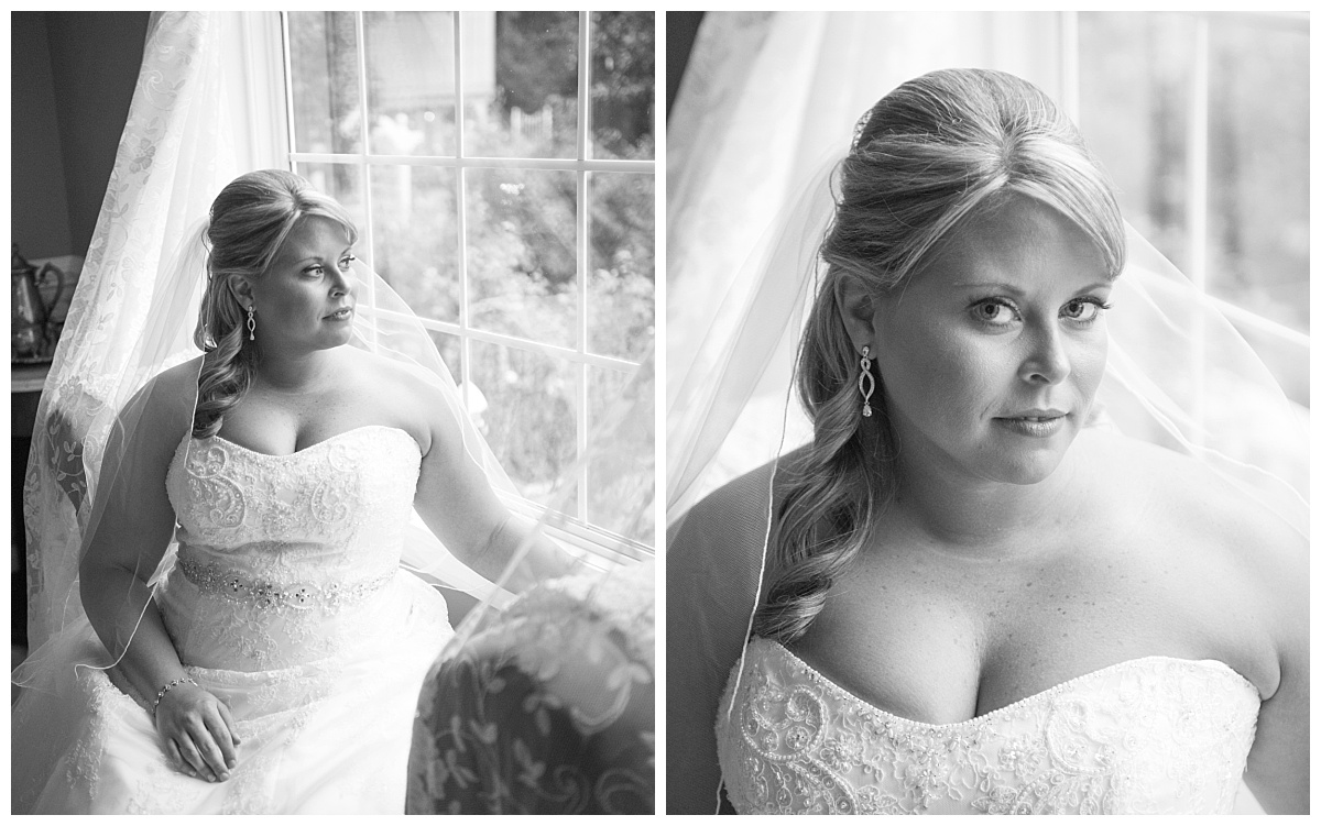 Black and white bridal portrait in the window