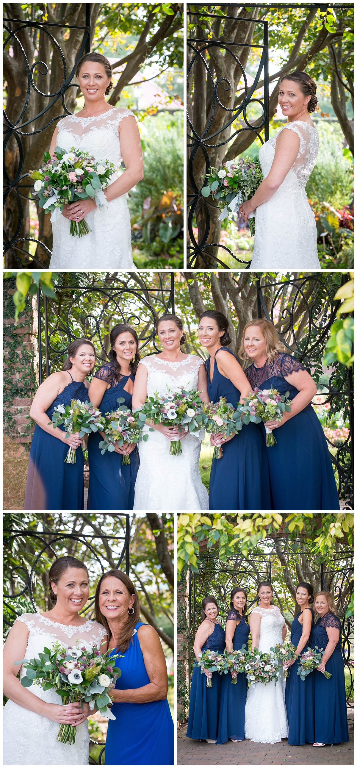 Bridesmaid in navy gowns