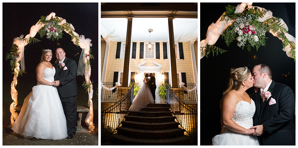 Bride and groom night portraits