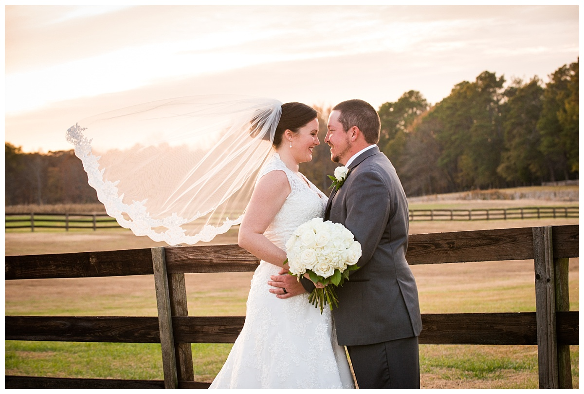 Sunset bride and groom photos on the farm