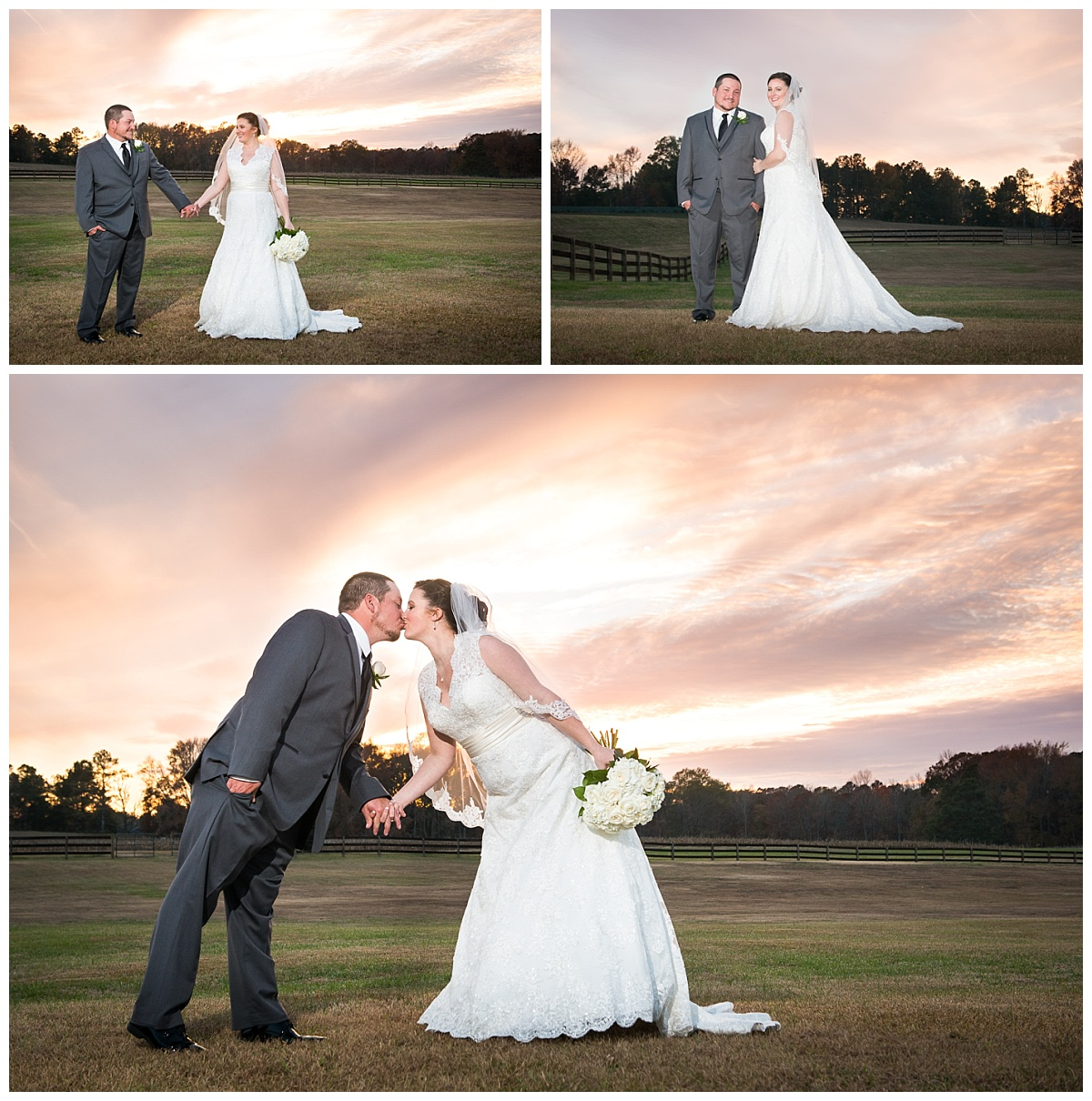 Sunset wedding at Farm at ridgeway