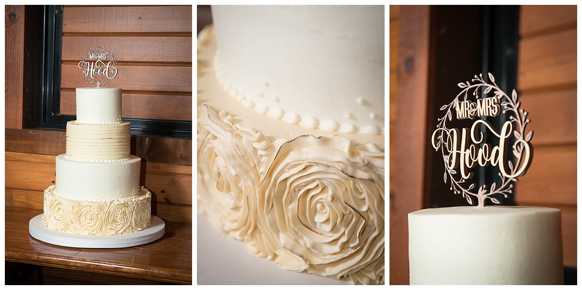 Rustic gold accent wedding cake by Bonnie Brunt