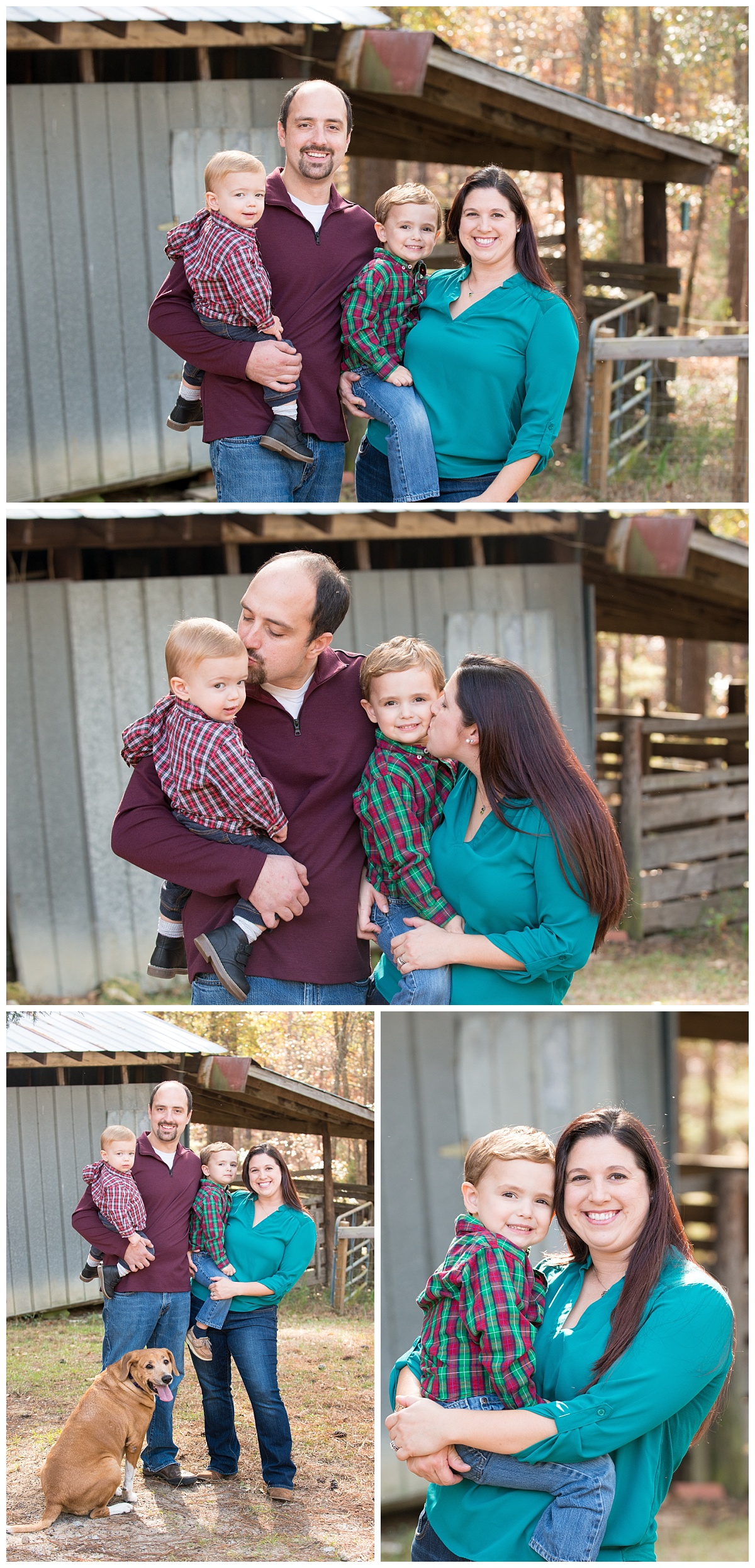 Blythewood family photos on farm