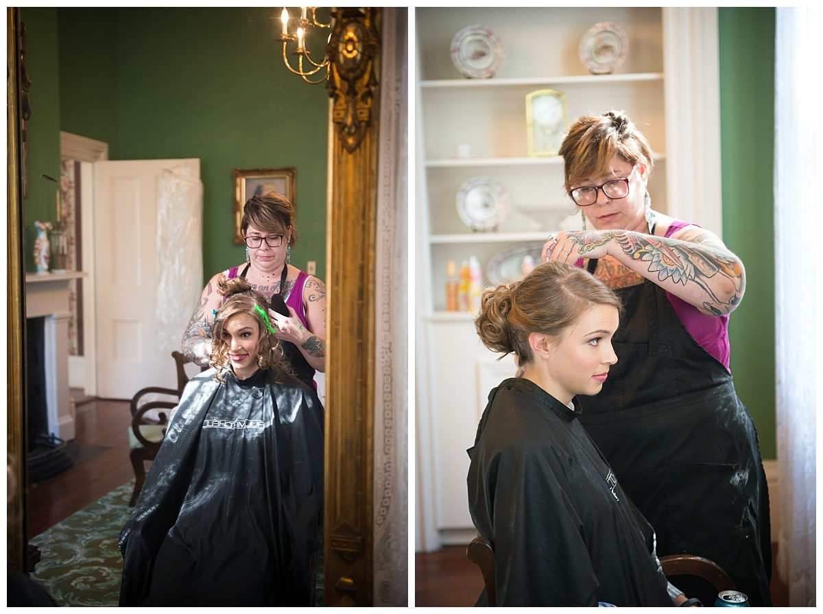 Getting ready for bridal portraits at Lace House