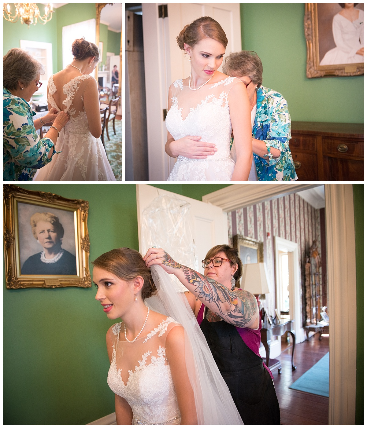 Bridal portraits at SC Governor's mansion grounds