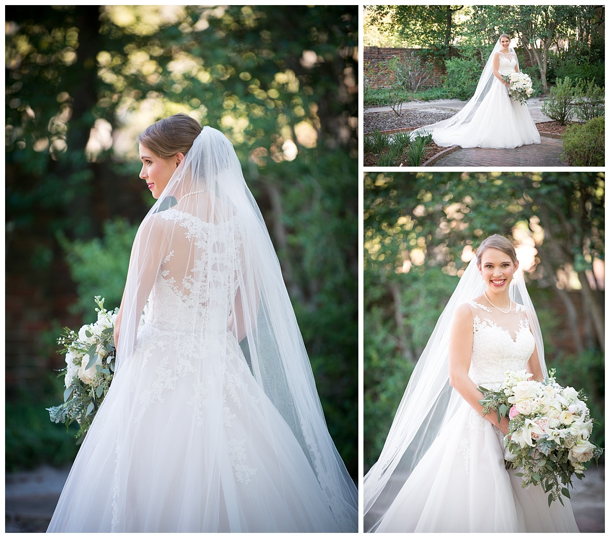 Outdoor bridal portraits in lacy gown