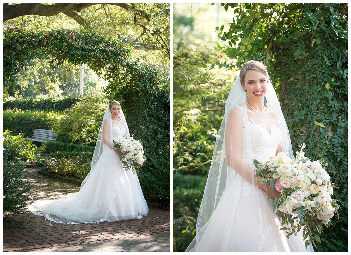 Bridal portraits at SC Governors mansion near lace house