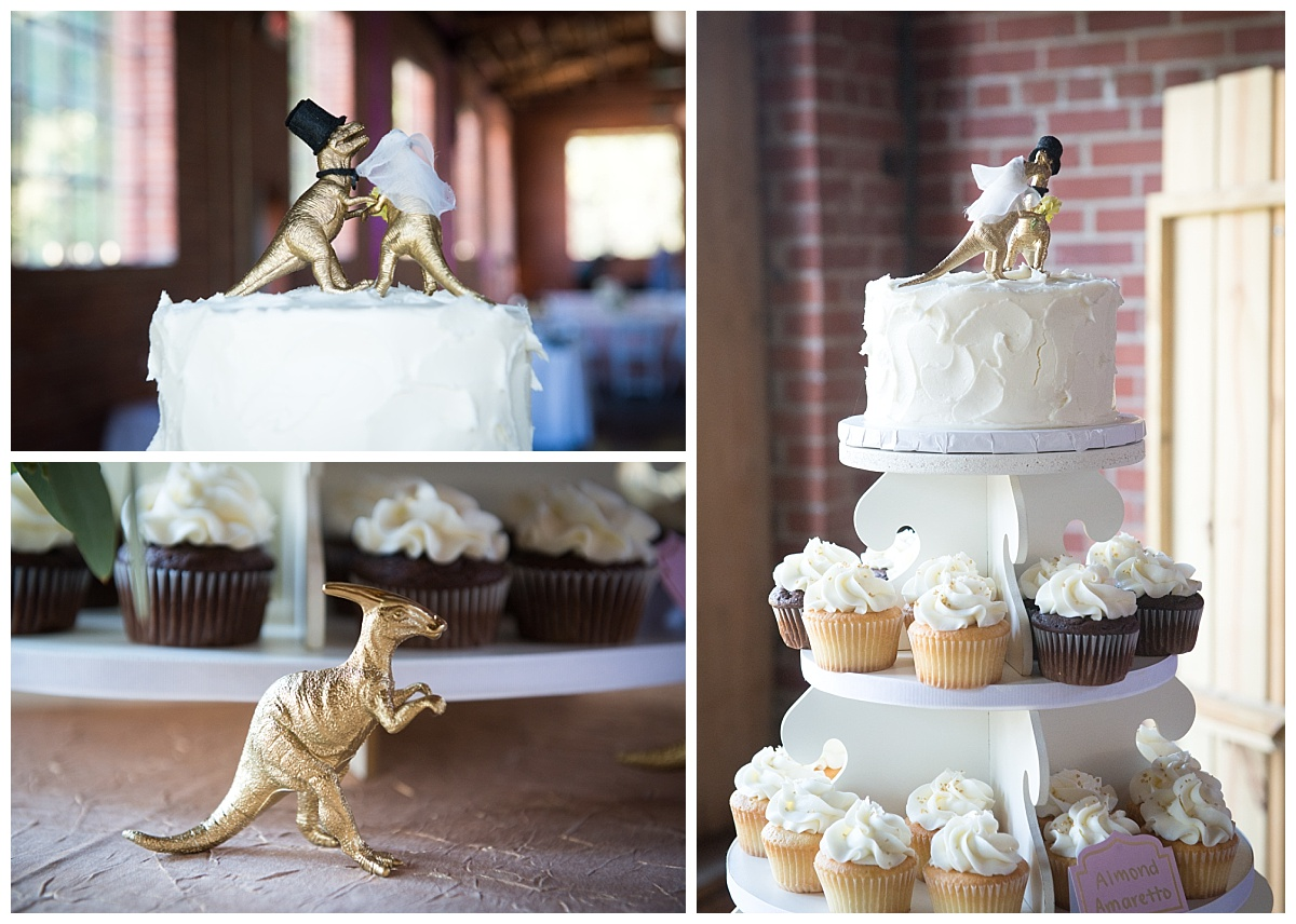 Golden dinosaur cake toppers