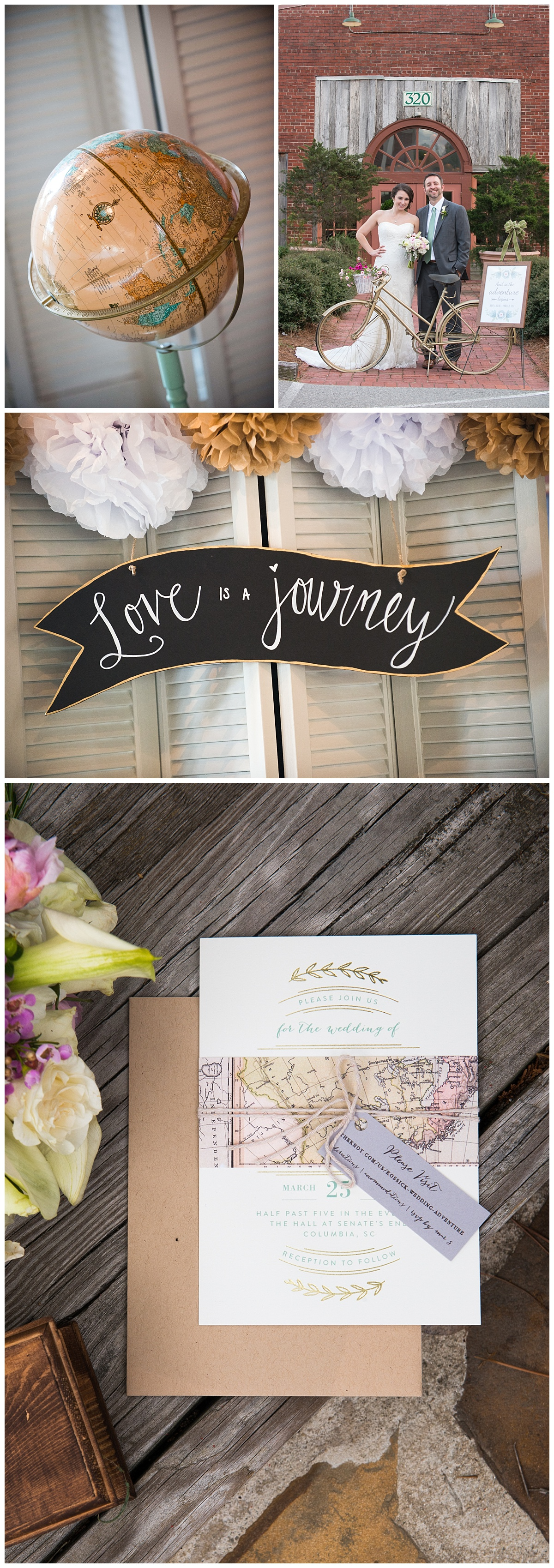 Rachel and Brent's love is a journey wedding theme at Senate's End
