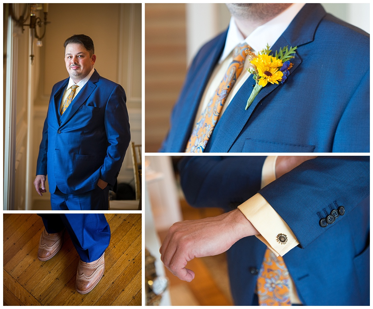 Orange and blue groom look