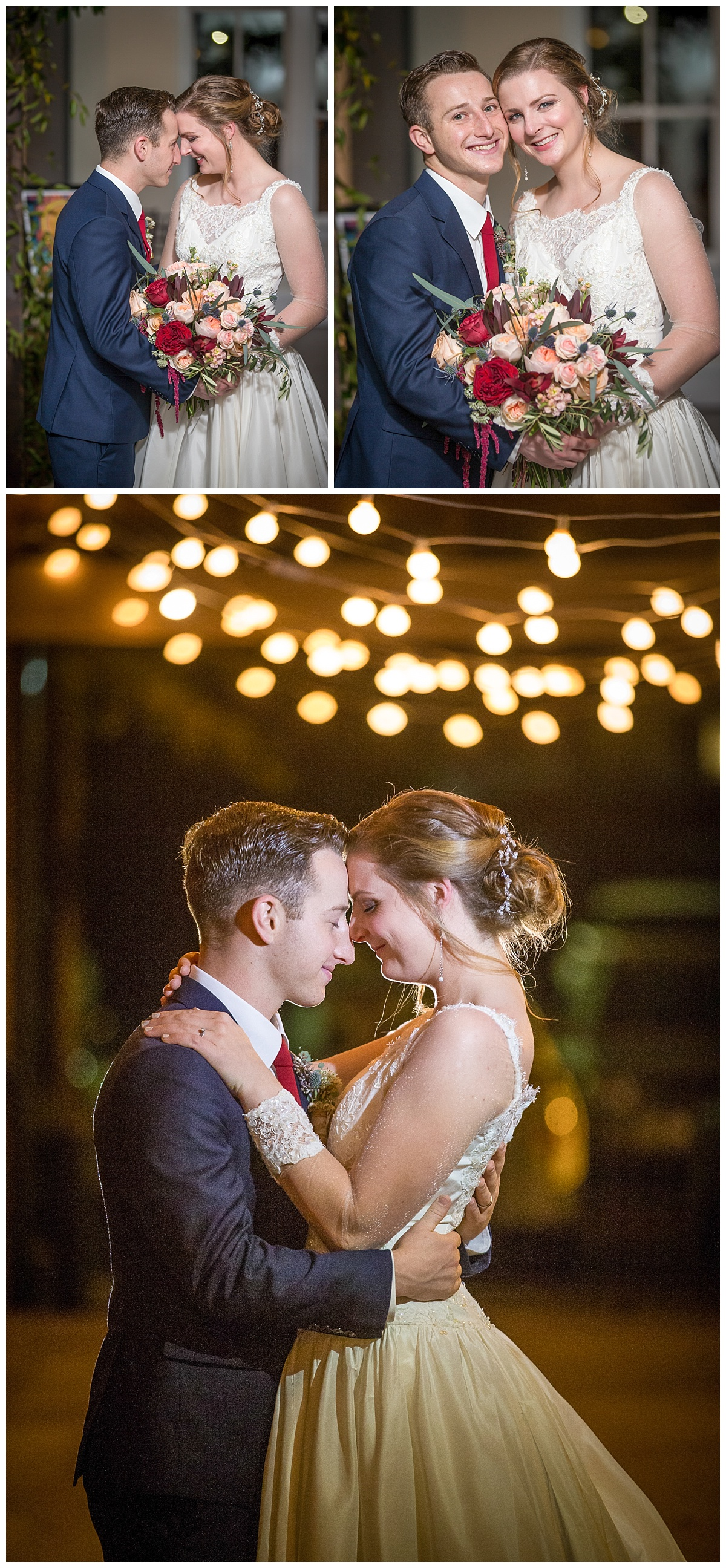 701 whaley wedding couple by cafe lights
