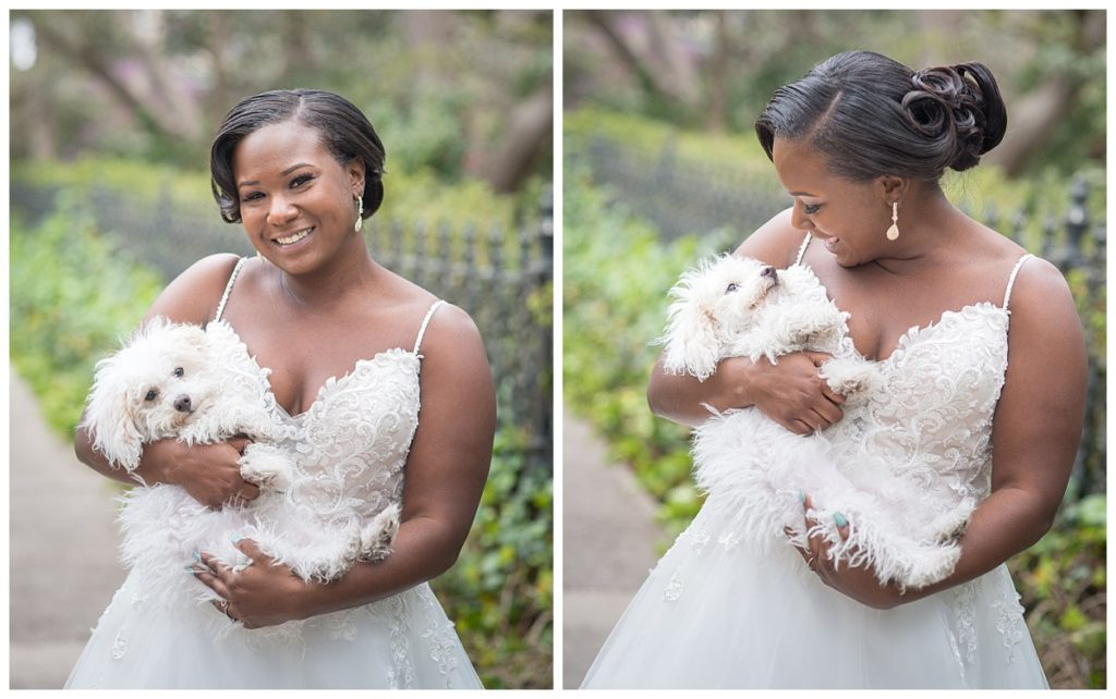 Bridal portraits at lace house with dog